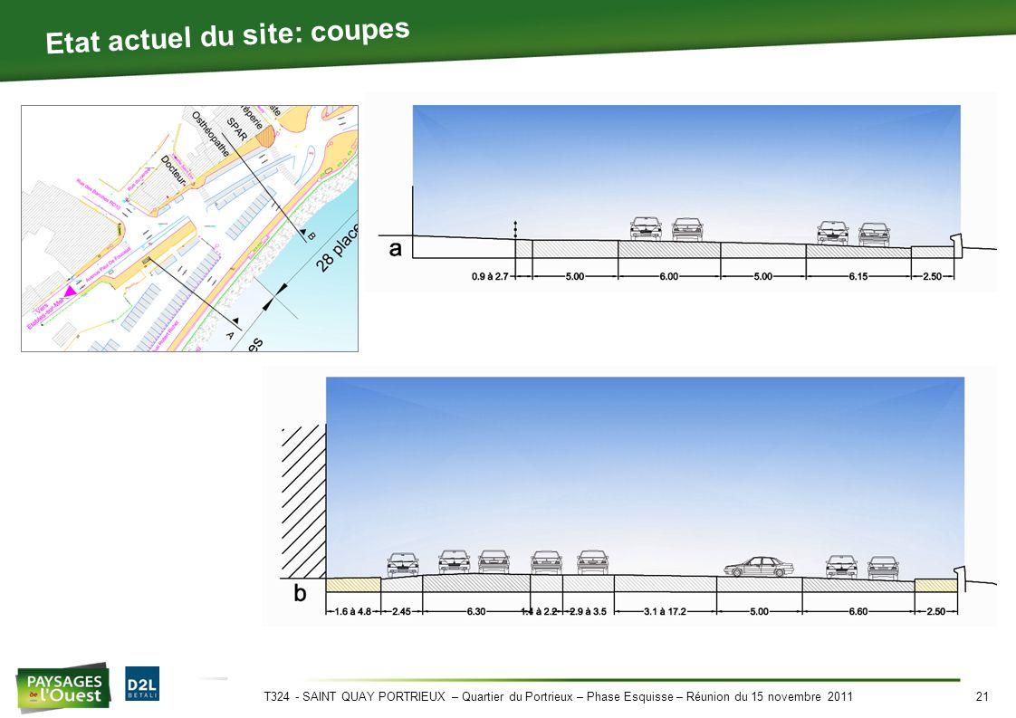 T324 - SAINT QUAY PORTRIEUX – Quartier du Portrieux – Phase Esquisse – Réunion du 15 novembre 201121 Etat actuel du site: coupes