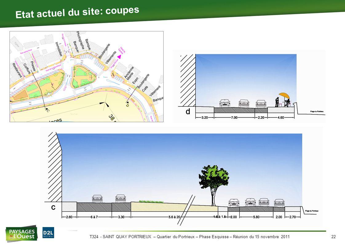 T324 - SAINT QUAY PORTRIEUX – Quartier du Portrieux – Phase Esquisse – Réunion du 15 novembre 201122 Etat actuel du site: coupes