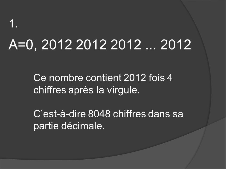 A=0, 2012 2012 2012... 2012 Ce nombre contient 2012 fois 4 chiffres après la virgule.