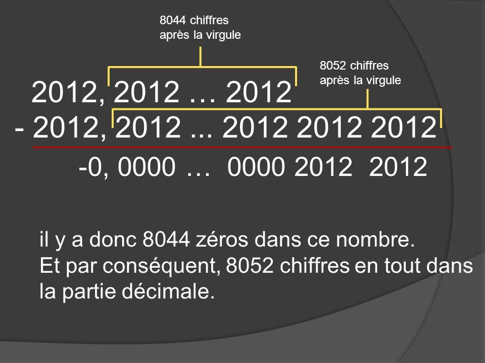 2012, 2012 … 2012 - 2012, 2012... 2012 2012 2012 il y a donc 8044 zéros dans ce nombre.