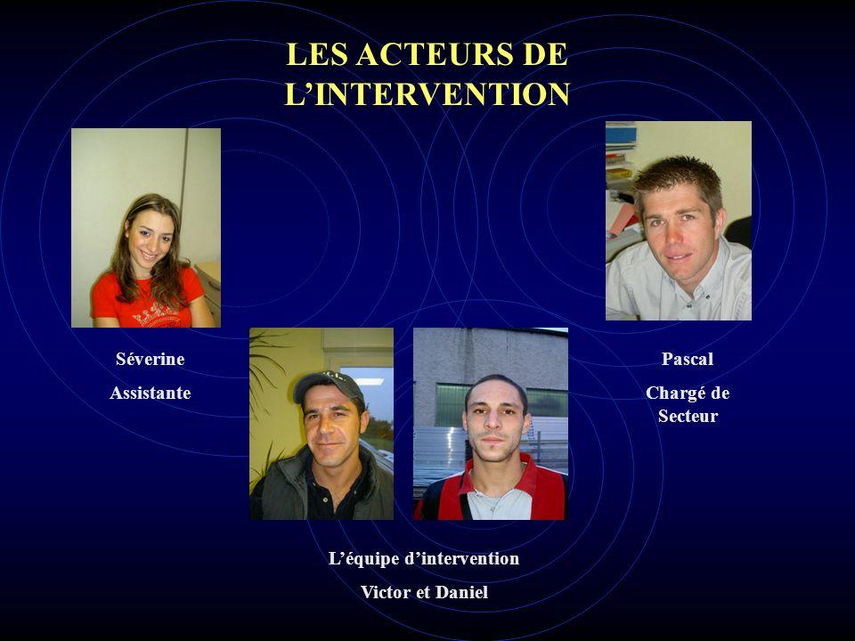 LES ACTEURS DE L'INTERVENTION L'équipe d'intervention Victor et Daniel Séverine Assistante Pascal Chargé de Secteur