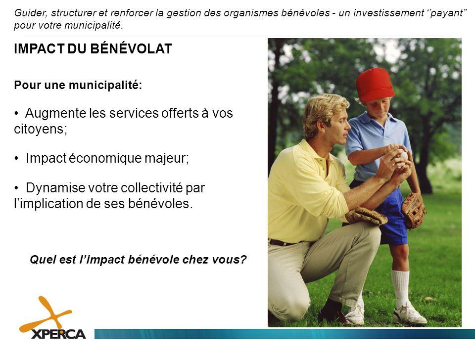 Guider, structurer et renforcer la gestion des organismes bénévoles - un investissement ''payant'' pour votre municipalité. IMPACT DU BÉNÉVOLAT Pour u