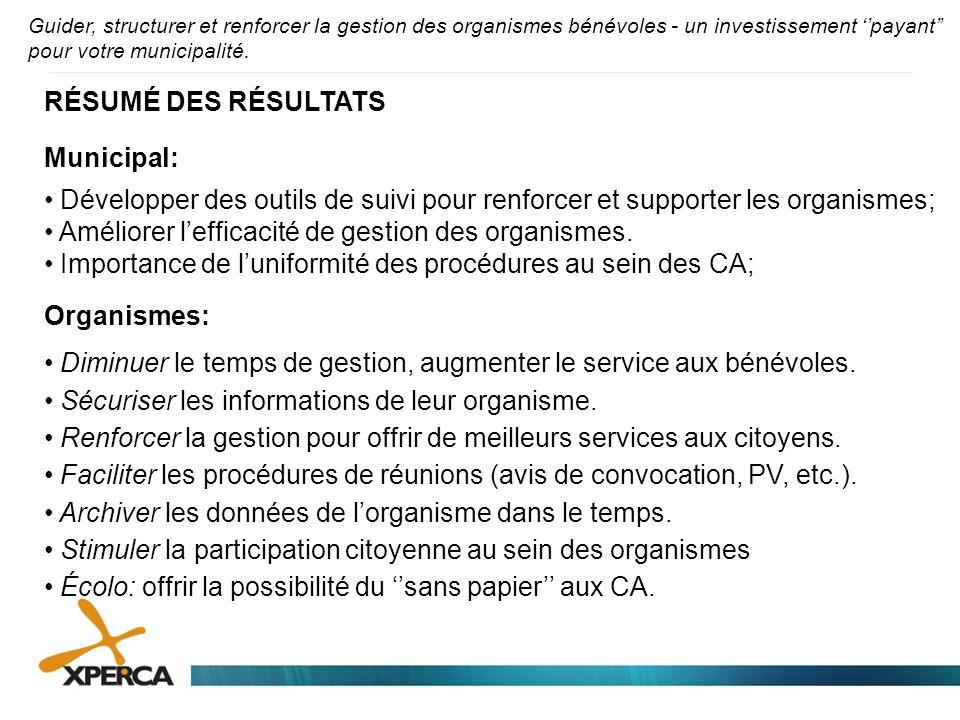 RÉSUMÉ DES RÉSULTATS Municipal: • Développer des outils de suivi pour renforcer et supporter les organismes; • Améliorer l'efficacité de gestion des o