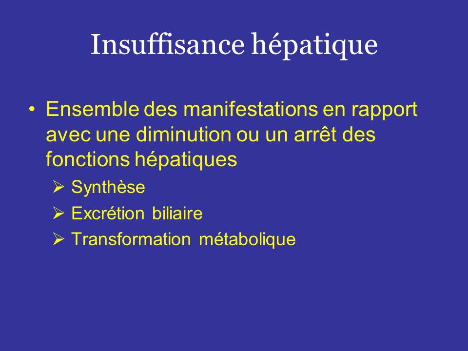 Insuffisance hépatique •Ensemble des manifestations en rapport avec une diminution ou un arrêt des fonctions hépatiques  Synthèse  Excrétion biliaire  Transformation métabolique