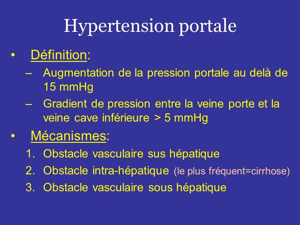 Hypertension portale •Définition: –Augmentation de la pression portale au delà de 15 mmHg –Gradient de pression entre la veine porte et la veine cave inférieure > 5 mmHg •Mécanismes: 1.Obstacle vasculaire sus hépatique 2.Obstacle intra-hépatique (le plus fréquent=cirrhose) 3.Obstacle vasculaire sous hépatique