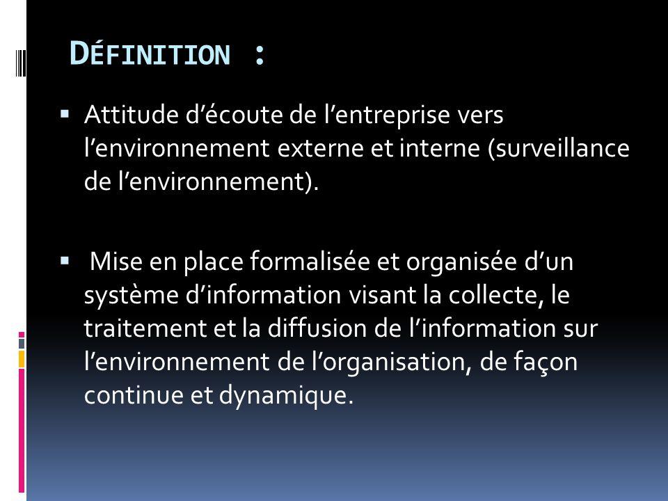 D ÉFINITION :  Attitude d'écoute de l'entreprise vers l'environnement externe et interne (surveillance de l'environnement).  Mise en place formalisé
