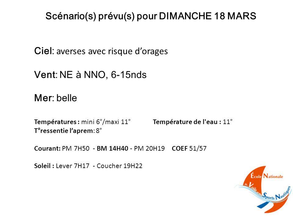Scénario(s) prévu(s) pour DIMANCHE 18 MARS Ciel: averses avec risque d'orages Vent: NE à NNO, 6-15nds Mer: belle Températures : mini 6°/maxi 11° Température de l eau : 11° T°ressentie l'aprem: 8° Courant: PM 7H50 - BM 14H40 - PM 20H19 COEF 51/57 Soleil : Lever 7H17 - Coucher 19H22