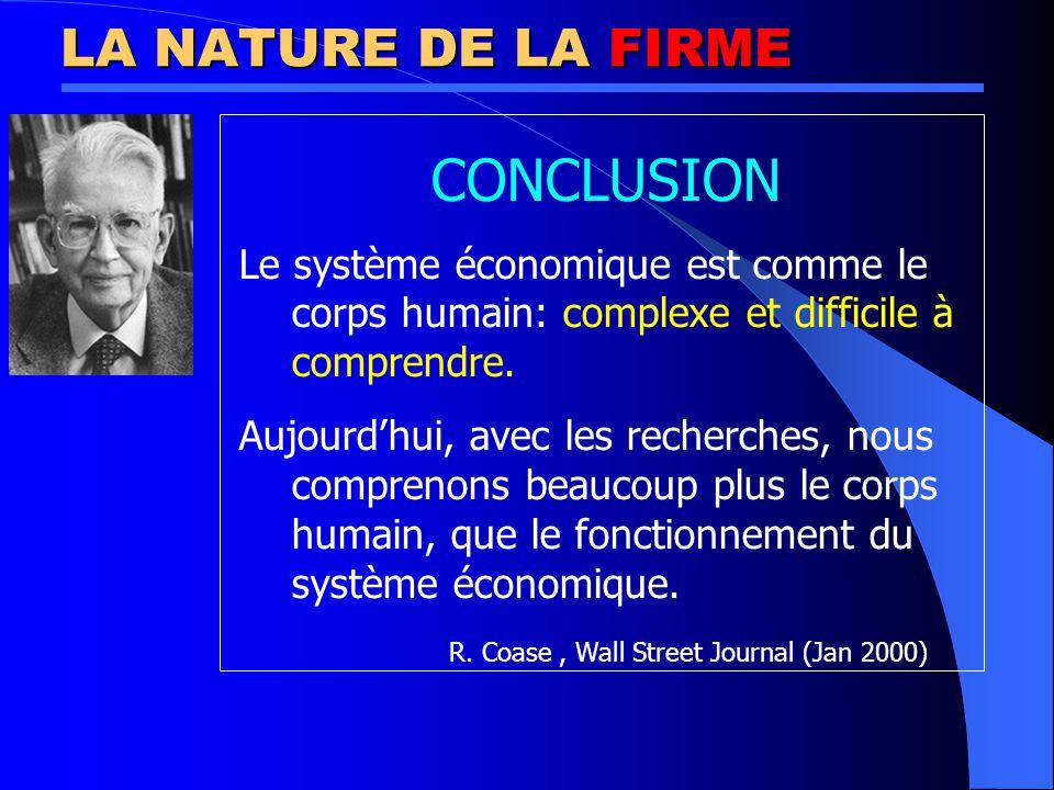 LA NATURE DE LA FIRME CONCLUSION Le système économique est comme le corps humain: complexe et difficile à comprendre.