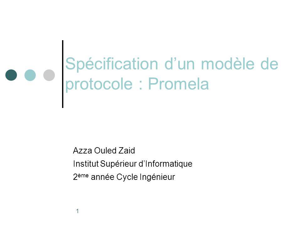 1 Spécification d'un modèle de protocole : Promela Azza Ouled Zaid Institut Supérieur d'Informatique 2 ème année Cycle Ingénieur