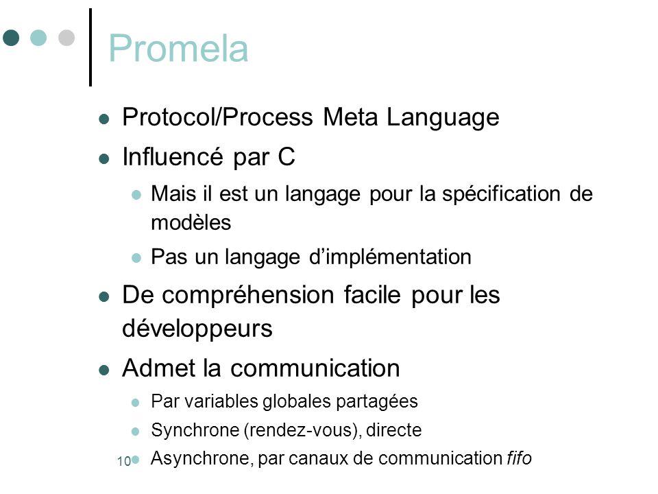 10 Promela  Protocol/Process Meta Language  Influencé par C  Mais il est un langage pour la spécification de modèles  Pas un langage d'implémentat