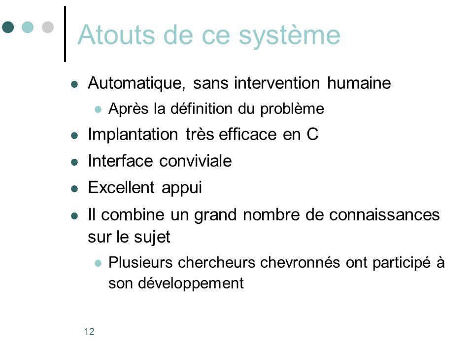 12 Atouts de ce système  Automatique, sans intervention humaine  Après la définition du problème  Implantation très efficace en C  Interface convi