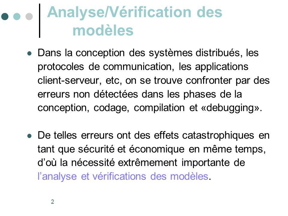 2 Analyse/Vérification des modèles  Dans la conception des systèmes distribués, les protocoles de communication, les applications client-serveur, etc