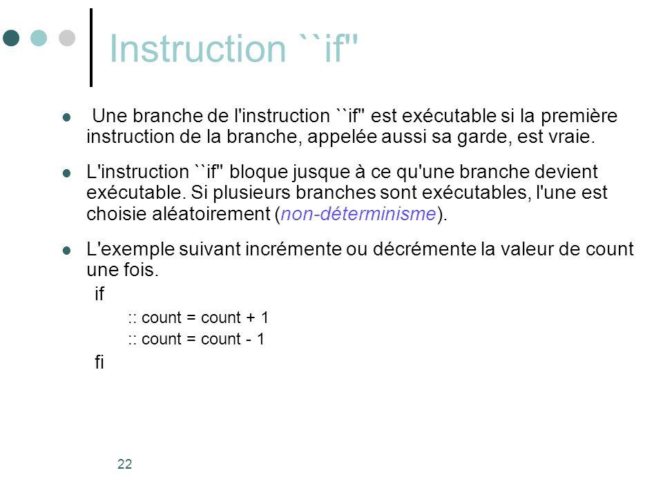 22 Instruction ``if''  Une branche de l'instruction ``if'' est exécutable si la première instruction de la branche, appelée aussi sa garde, est vraie