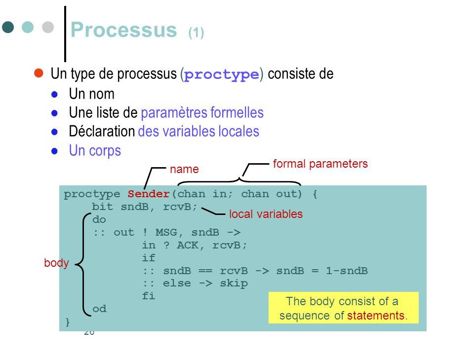 26 Processus (1)  Un type de processus ( proctype ) consiste de  Un nom  Une liste de paramètres formelles  Déclaration des variables locales  Un