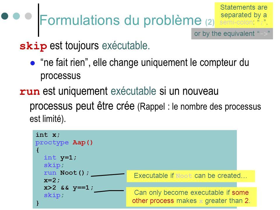 """28 Formulations du problème (2) skip est toujours exécutable.  """"ne fait rien"""", elle change uniquement le compteur du processus run est uniquement exé"""