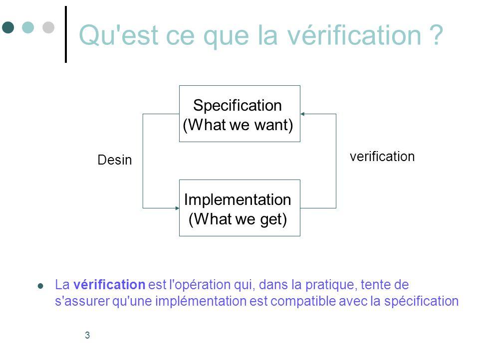 3 Qu'est ce que la vérification ?  La vérification est l'opération qui, dans la pratique, tente de s'assurer qu'une implémentation est compatible ave