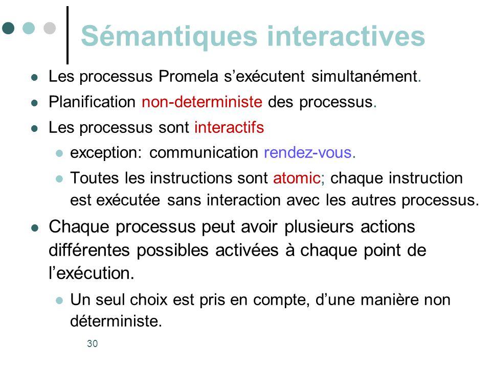 30 Sémantiques interactives  Les processus Promela s'exécutent simultanément.  Planification non-deterministe des processus.  Les processus sont in
