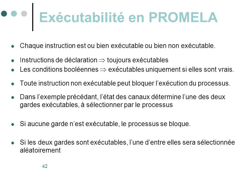 42 Exécutabilité en PROMELA  Chaque instruction est ou bien exécutable ou bien non exécutable.  Instructions de déclaration  toujours exécutables 