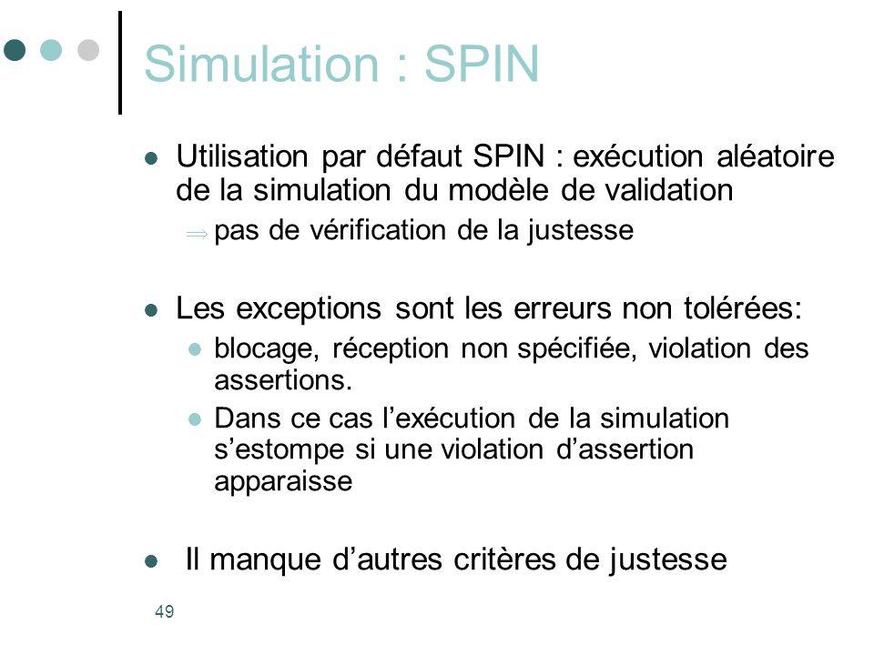 49 Simulation : SPIN  Utilisation par défaut SPIN : exécution aléatoire de la simulation du modèle de validation  pas de vérification de la justesse