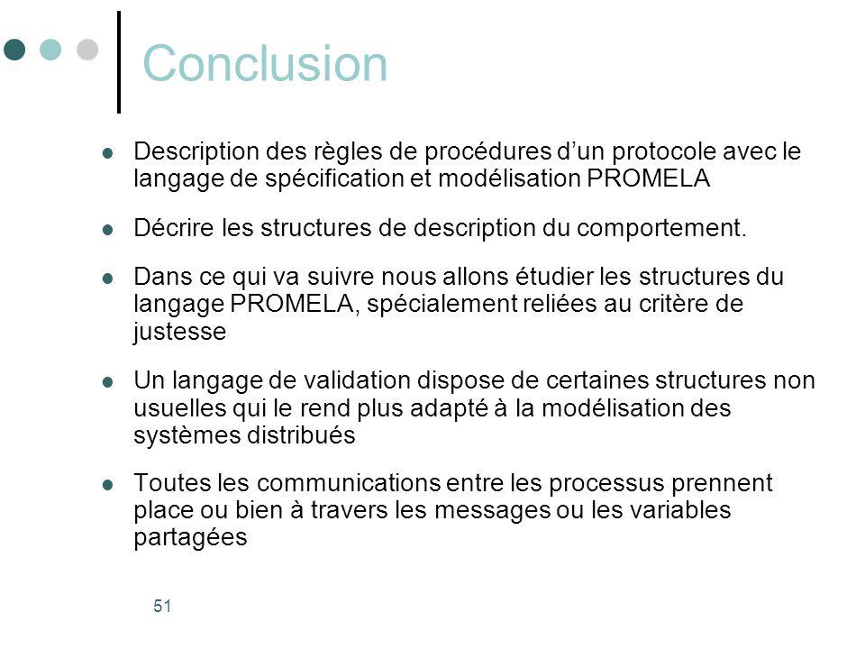 51 Conclusion  Description des règles de procédures d'un protocole avec le langage de spécification et modélisation PROMELA  Décrire les structures