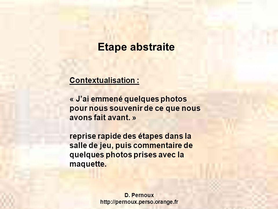 D. Pernoux http://pernoux.perso.orange.fr Etape abstraite Contextualisation : « J'ai emmené quelques photos pour nous souvenir de ce que nous avons fa