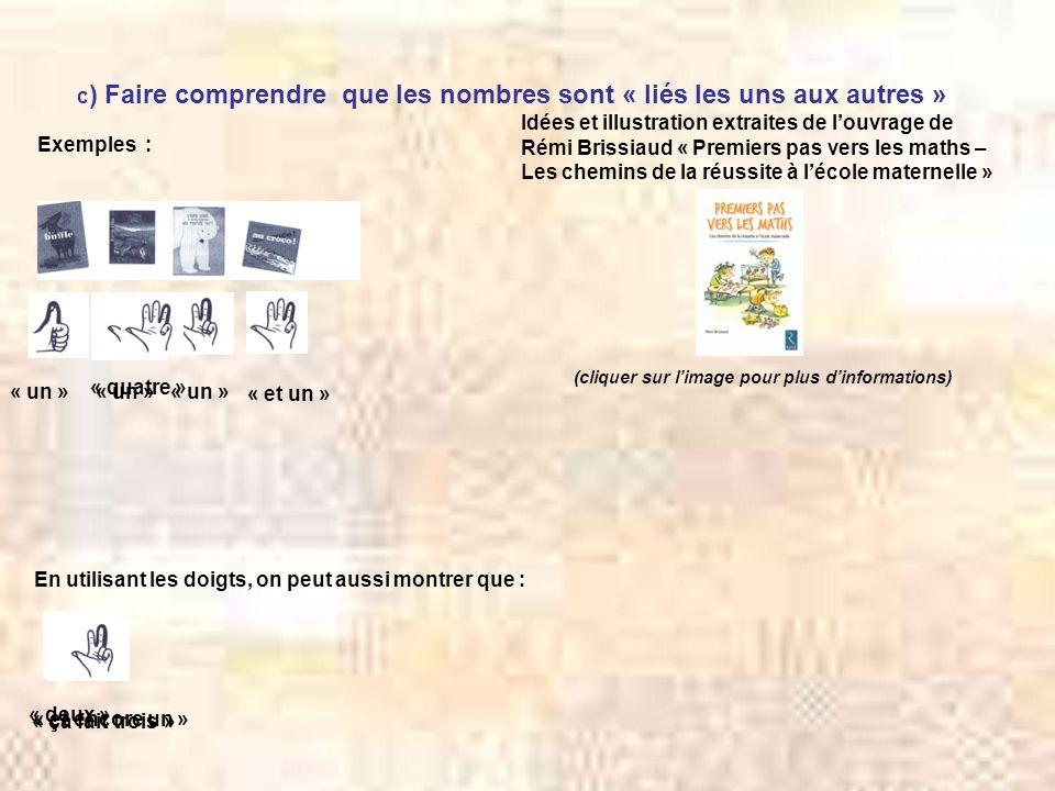 c ) Faire comprendre que les nombres sont « liés les uns aux autres » Exemples : Idées et illustration extraites de l'ouvrage de Rémi Brissiaud « Prem