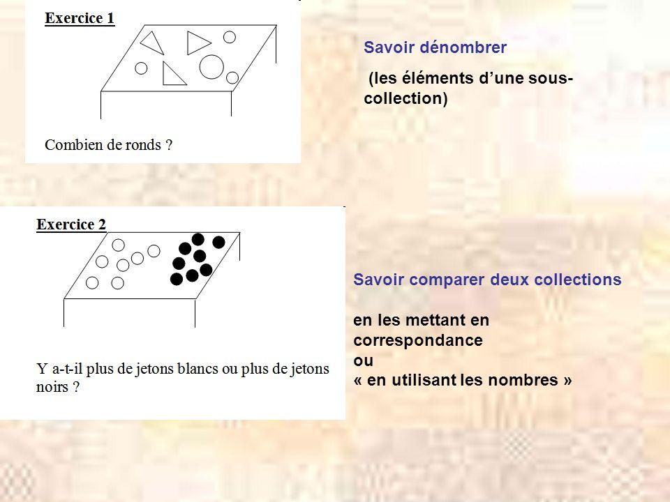 Savoir dénombrer (les éléments d'une sous- collection) Savoir comparer deux collections en les mettant en correspondance ou « en utilisant les nombres