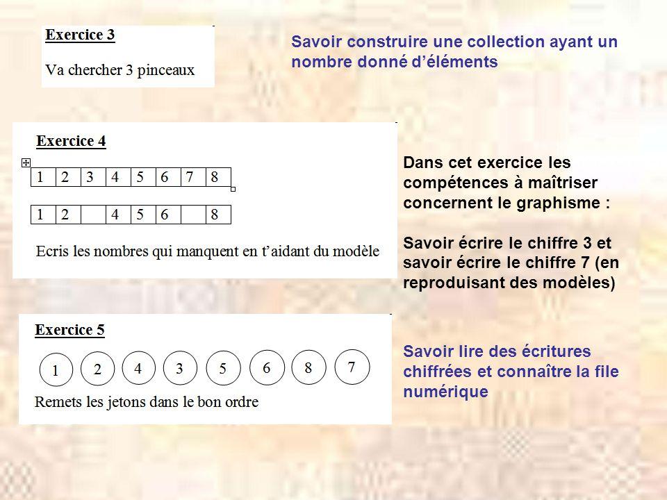 Savoir construire une collection ayant un nombre donné d'éléments Dans cet exercice les compétences à maîtriser concernent le graphisme : Savoir écrir