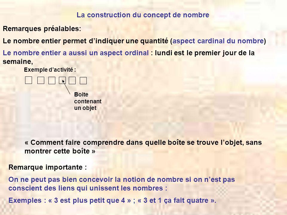 La construction du concept de nombre Le nombre entier permet d'indiquer une quantité (aspect cardinal du nombre) Le nombre entier a aussi un aspect or