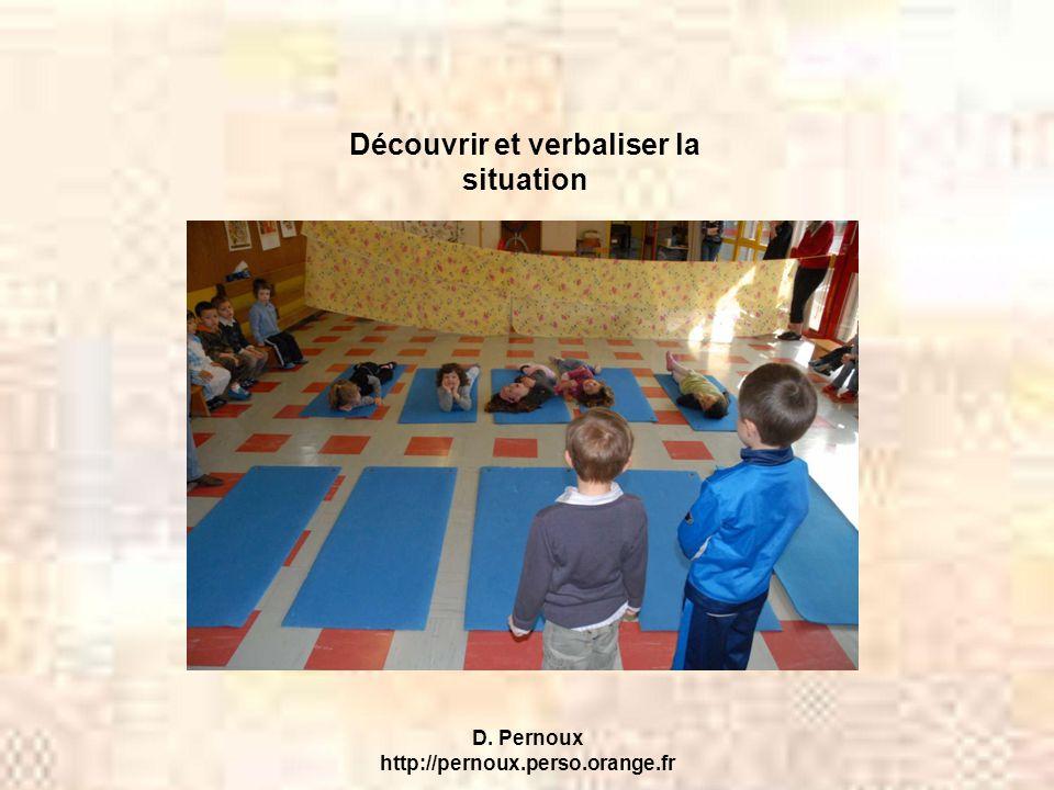 D. Pernoux http://pernoux.perso.orange.fr Découvrir et verbaliser la situation
