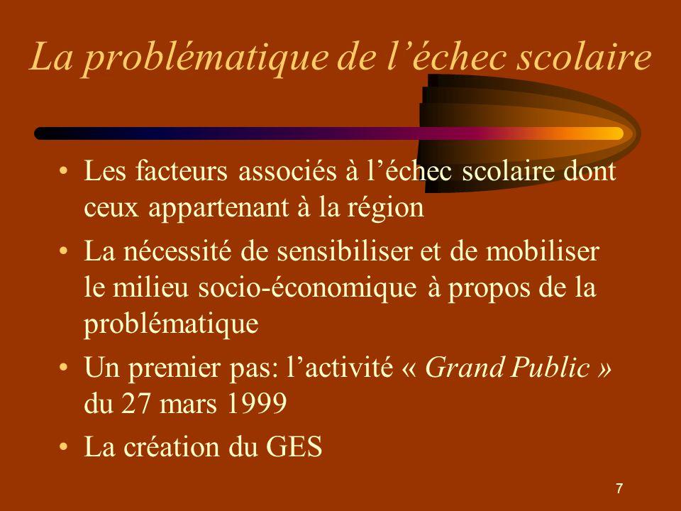 7 •Les facteurs associés à l'échec scolaire dont ceux appartenant à la région •La nécessité de sensibiliser et de mobiliser le milieu socio-économique à propos de la problématique •Un premier pas: l'activité « Grand Public » du 27 mars 1999 •La création du GES
