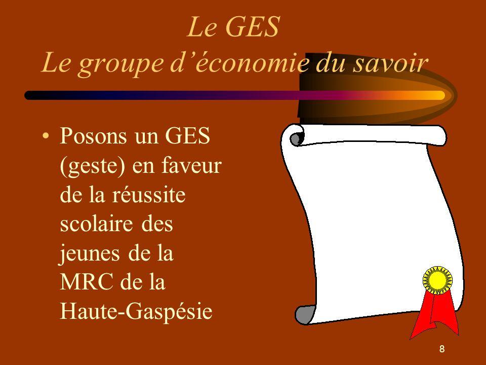 8 Le GES Le groupe d'économie du savoir •Posons un GES (geste) en faveur de la réussite scolaire des jeunes de la MRC de la Haute-Gaspésie
