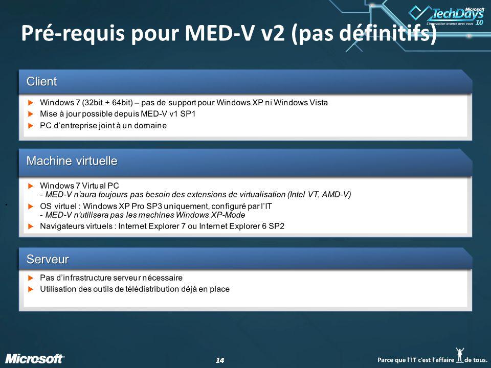 14 Pré-requis pour MED-V v2 (pas définitifs) •:•: