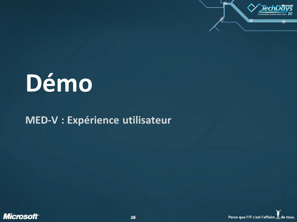 16 Démo MED-V : Expérience utilisateur