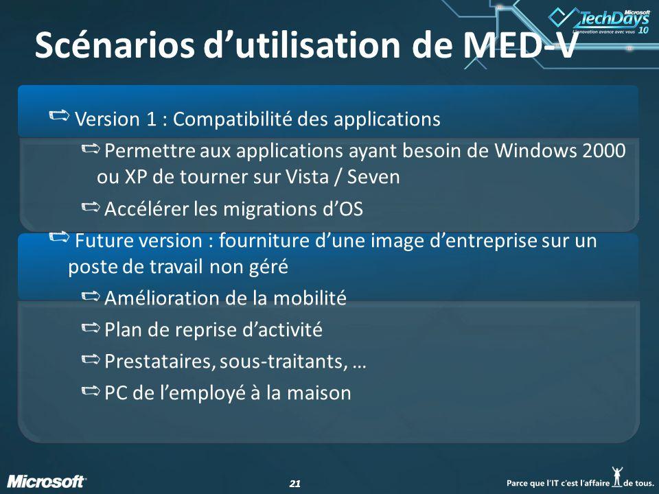 21 Version 1 : Compatibilité des applications Permettre aux applications ayant besoin de Windows 2000 ou XP de tourner sur Vista / Seven Accélérer les migrations d'OS Future version : fourniture d'une image d'entreprise sur un poste de travail non géré Amélioration de la mobilité Plan de reprise d'activité Prestataires, sous-traitants, … PC de l'employé à la maison Scénarios d'utilisation de MED-V