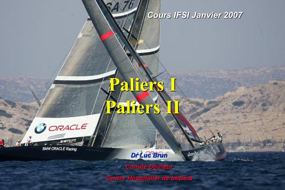 Paliers I Paliers II Cours IFSI Janvier 2007 Dr Luc Brun Comité Douleur Centre Hospitalier de béziers