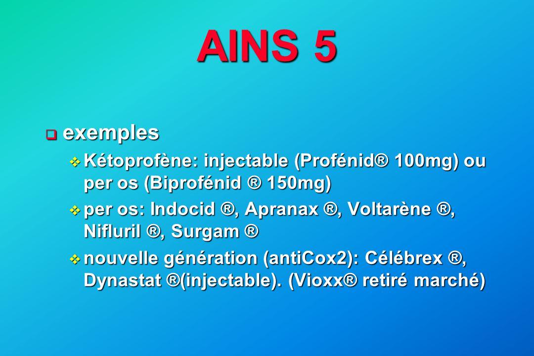 AINS 5  exemples v Kétoprofène: injectable (Profénid® 100mg) ou per os (Biprofénid ® 150mg) v per os: Indocid ®, Apranax ®, Voltarène ®, Nifluril ®,
