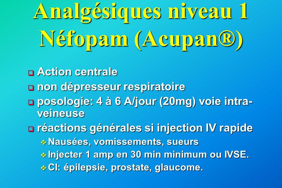 Analgésiques niveau 1 Néfopam (Acupan®)  Action centrale  non dépresseur respiratoire  posologie: 4 à 6 A/jour (20mg) voie intra- veineuse  réacti