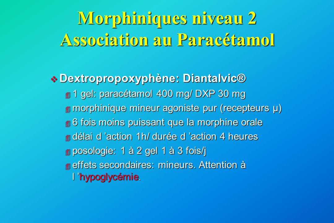 Morphiniques niveau 2 Association au Paracétamol v Dextropropoxyphène: Diantalvic® 4 1 gel: paracétamol 400 mg/ DXP 30 mg 4 morphinique mineur agonist