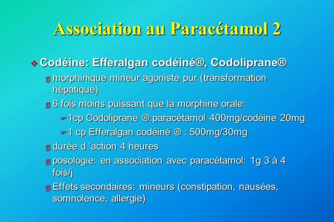 Association au Paracétamol 2 v Codéine: Efferalgan codéiné®, Codoliprane® 4 morphinique mineur agoniste pur (transformation hépatique) 4 6 fois moins