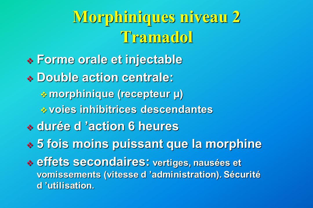 Morphiniques niveau 2 Tramadol  Forme orale et injectable  Double action centrale:  morphinique (recepteur µ)  voies inhibitrices descendantes  d