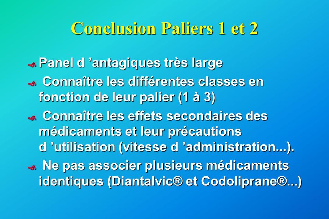 Conclusion Paliers 1 et 2  Panel d 'antagiques très large  Connaître les différentes classes en fonction de leur palier (1 à 3)  Connaître les effe