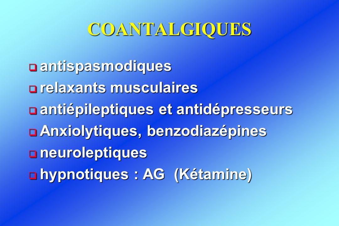 COANTALGIQUES  antispasmodiques  relaxants musculaires  antiépileptiques et antidépresseurs  Anxiolytiques, benzodiazépines  neuroleptiques  hyp