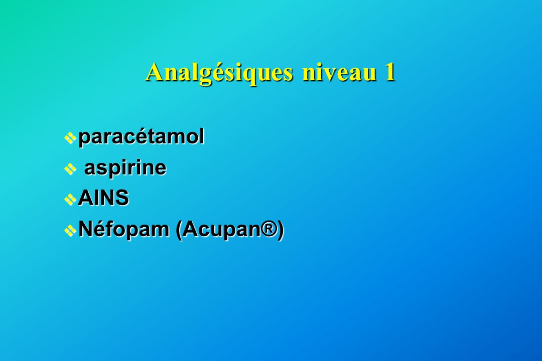 Analgésiques niveau 1 v paracétamol v aspirine v AINS v Néfopam (Acupan®)