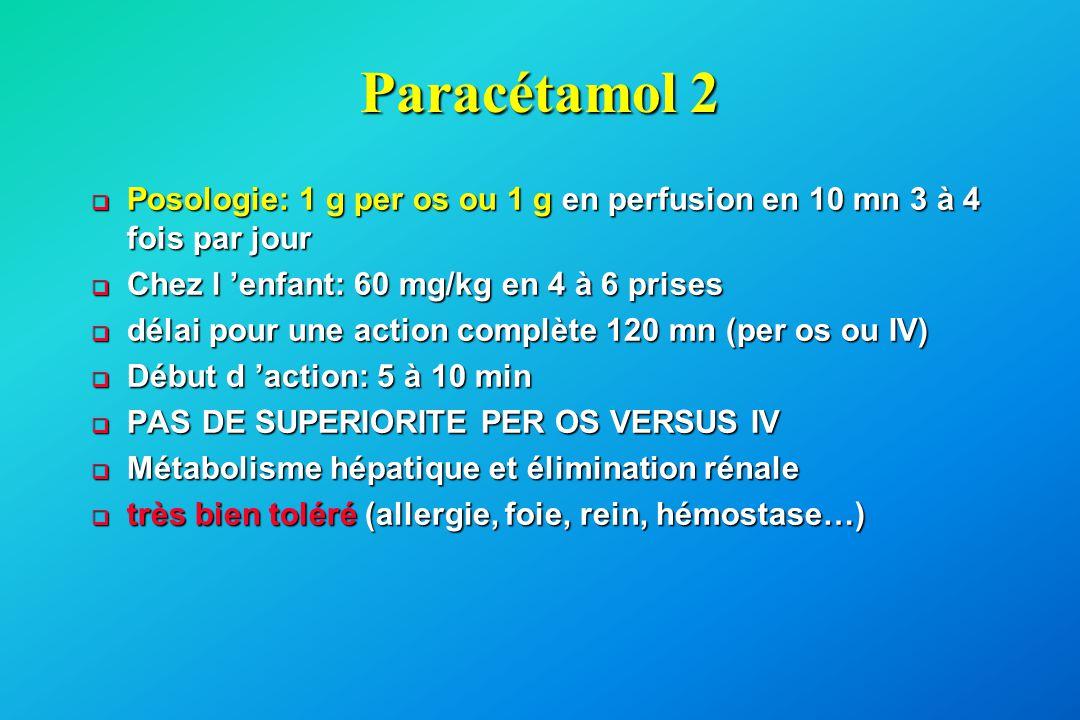 Paracétamol 2  Posologie: 1 g per os ou 1 g en perfusion en 10 mn 3 à 4 fois par jour  Chez l 'enfant: 60 mg/kg en 4 à 6 prises  délai pour une act
