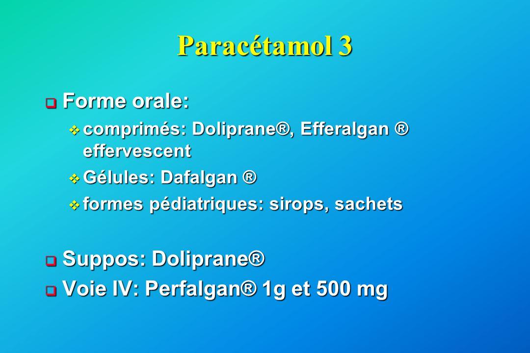 Paracétamol 3  Forme orale: v comprimés: Doliprane®, Efferalgan ® effervescent v Gélules: Dafalgan ® v formes pédiatriques: sirops, sachets  Suppos: