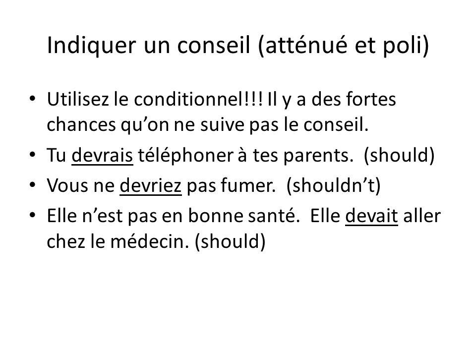 Indiquer un conseil (atténué et poli) • Utilisez le conditionnel!!! Il y a des fortes chances qu'on ne suive pas le conseil. • Tu devrais téléphoner à