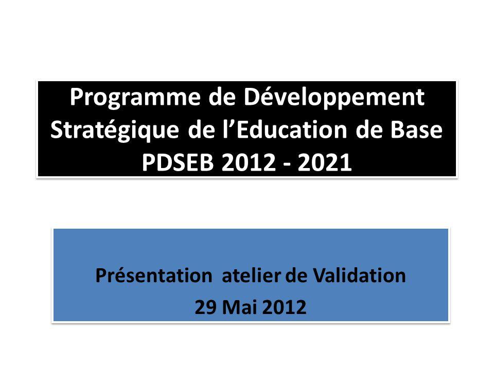 Programme de Développement Stratégique de l'Education de Base PDSEB 2012 - 2021 Présentation atelier de Validation 29 Mai 2012 Présentation atelier de