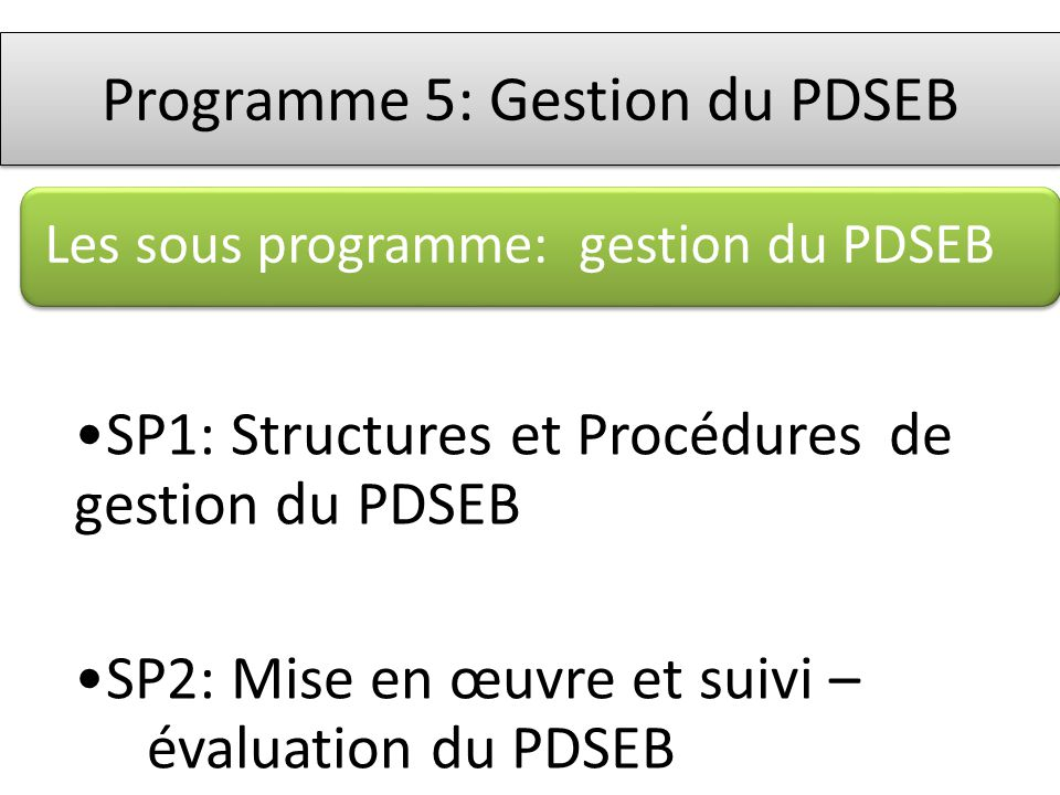 Les sous programme: gestion du PDSEB SP1: Structures et Procédures de gestion du PDSEB SP2: Mise en œuvre et suivi – évaluation du PDSEB Programme 5: Gestion du PDSEB