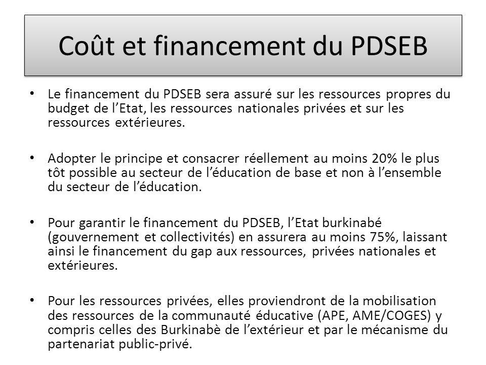 Coût et financement du PDSEB • Le financement du PDSEB sera assuré sur les ressources propres du budget de l'Etat, les ressources nationales privées et sur les ressources extérieures.
